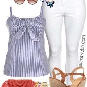 Plus Size Navy Stripe Top Outfit - Plus Size Fashion for Women - Plus Size Spring Outfit - alexawebb.com #alexawebb
