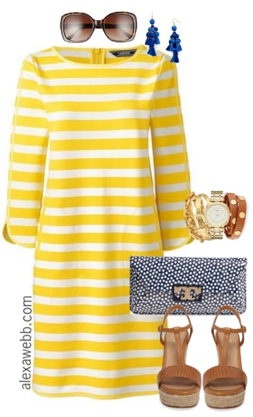 8bc6eb24046 Plus Size Yellow Striped Dress - Plus Size Preppy Outfit - Plus Size Fashion  for Women