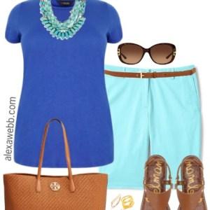 Plus Size Aqua Shorts Outfits - Plus Size Summer Outfits for Women - Plus Size Fashion - alexawebb.com #alexawebb