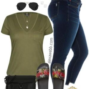 Plus Size Khaki T-Shirt Outfit - Plus Size Fashion for Women - alexawebb.com #alexawebb