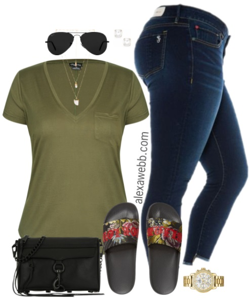 Plus Size Khaki T-Shirt Outfit - Plus Size Fashion for Women - alexawebb.com #alexawebb