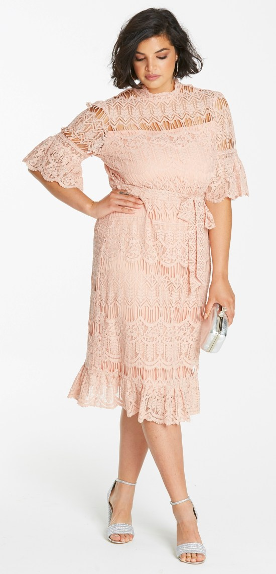 55 plus size wedding guest dresses with sleeves alexa webb for Plus size after wedding dress