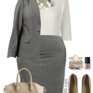 Plus Size Grey Suit Work Outfits - Plus Size Work Outfits - Plus Size Fashion for Women - alexawebb.com