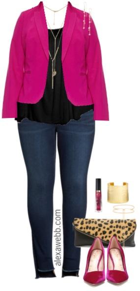 323135f9da919 Plus Size Pink Blazer Outfit - Alexa Webb