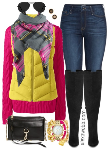 Plus Size Pink Sweater Outfit - Plus Size Fall Outfit Idea - Plus Size Fashion for Women - Alexawebb.com #alexawebb