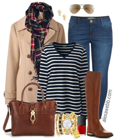 e7bddaacb6f Plus Size Stripe Tee Outfit - Plus Size Fall Casual Outfit - Plus Size  Fashion for