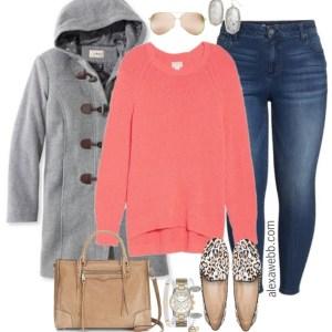 Plus Size Coral Sweater Outfit - Plus Size Fashion for Women - alexawebb.com #alexawebb