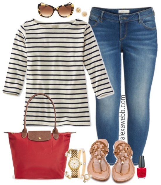 Plus Size Striped Boatneck Tee Outfit - Plus Size Outfit Idea - Plus Size Fashion for Women #alexawebb #plussize