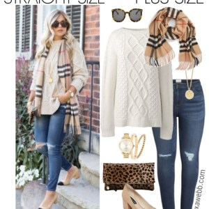 Straight Size to Plus Size – Burberry Scarf Outfit - Plus Size Winter Casual Outfit Idea - Plus Size Fashion for Women - alexawebb.com #plussize #alexawebb