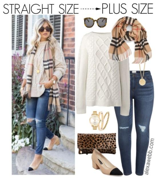Straight Size to Plus Size – Burberry Scarf Outfit - Plus Size Winter Casual Outfit Idea - Plus Size Fashion for Women - alexawebb.com #plussize #alexawebb