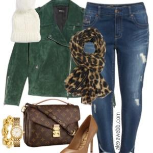 Plus Size Green Suede Jacket Outfit - Plus Size Fashion for Women - alexawebb.com #alexawebb #plussize