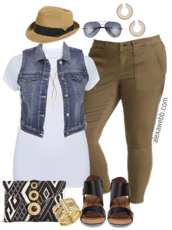 plus size denim vest outfit alexa webb