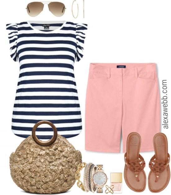 Plus Size Peach Shorts Outfit - Plus Size Summer Outfit Idea - Plus Size Fashion for Women - alexawebb.com #alexawebb