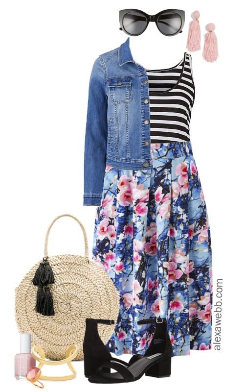 Plus Size Floral and Stripes Outfit - Plus Size Summer Outfit Idea - Plus Size Fashion for Women - alexawebb.com #alexawebb #plussize