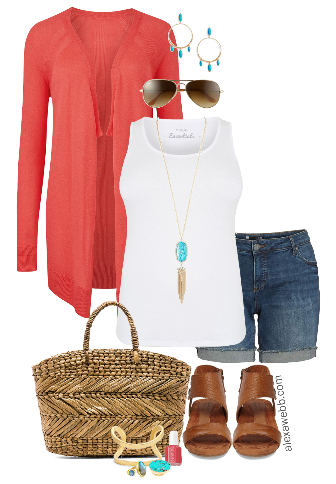e233b8090517 Plus Size Summer Denim Shorts Outfit - Alexa Webb