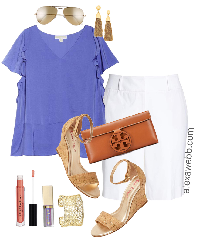 80b7cdba8355 Plus Size Summer White Shorts Outfit - Alexa Webb