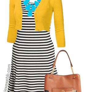 Plus Size Stripes & Mustard Dress Outfit Idea - Plus Size Fashion for Women - alexawebb.com #alexawebb #plussize