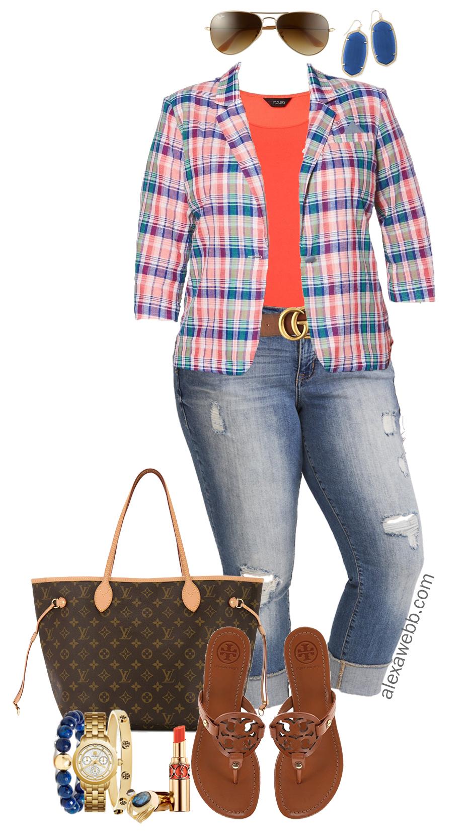b129da0ecbd Plus Size Plaid Blazer Outfit - Alexa Webb