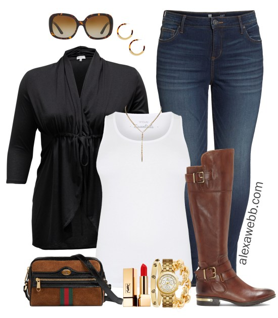 Plus Size Casual Fall Cardigan Outfit - Plus Size Wide Calf Boot Outfit - Plus Size Fashion for Women - alexawebb.com #alexawebb #plussize