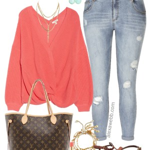 Plus Size Coral Sweater Outfit - Plus Size Summer into Fall Outfit Idea - Plus Size Fashion for Women - alexawebb.com #plussize #alexawebb
