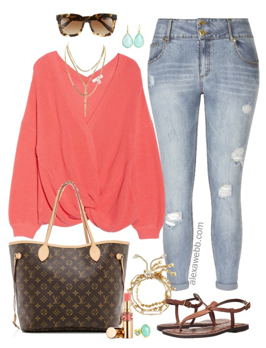 05e1f032565 Plus Size Coral Sweater Outfit - Plus Size Summer into Fall Outfit Idea - Plus  Size