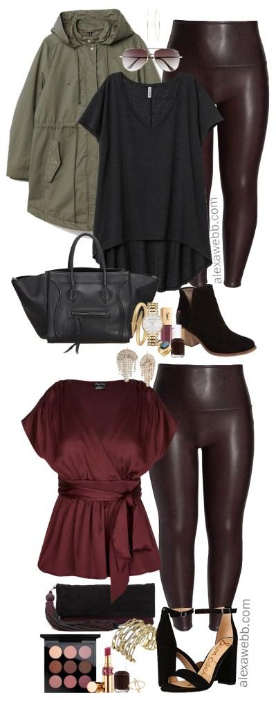 Plus Size Faux Leather Leggings Outfit - Plus Size Wine Oxblood Leather Leggings - Plus Size Fashion for Women - alexawebb.com #plussize #alexawebb