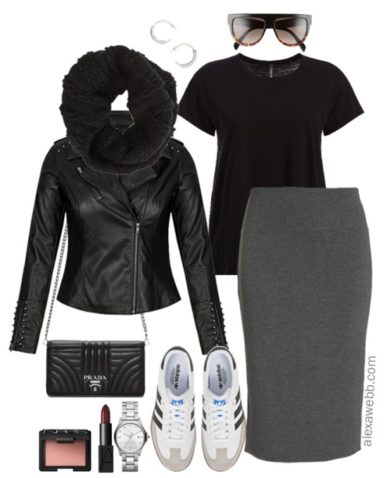 Plus Size Street Style Outfit - Plus Size Biker Jacket, Midi Skirt, and Sneakers Outfit Idea - Plus Size Fashion for Women - alexawebb.com #plussize #alexawebb