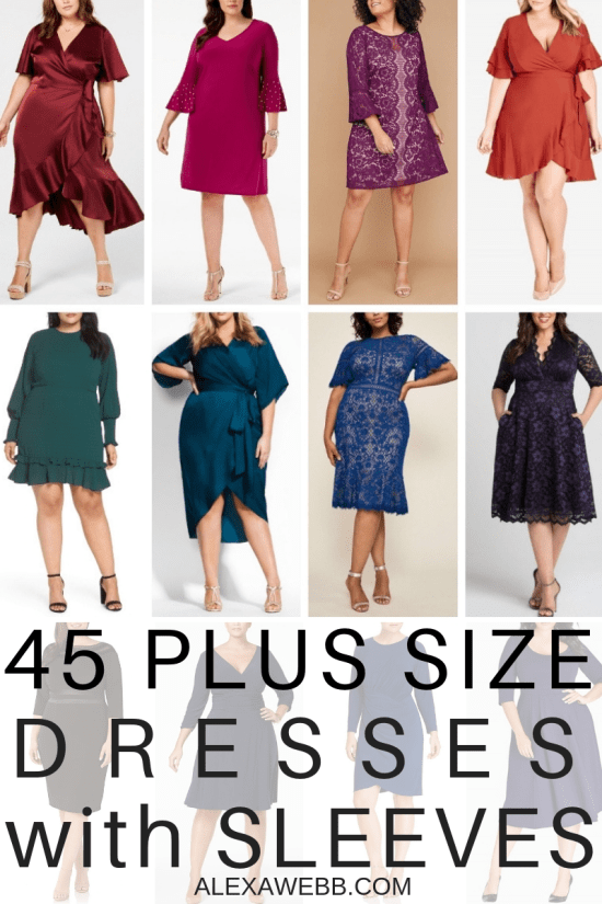 45 Plus Size Wedding Guest Dresses {with Sleeves} - Plus Size Fall Wedding Guest Dresses - Plus Size Fashion for Women - alexawebb.com #plussize #plussizedresses #alexawebb