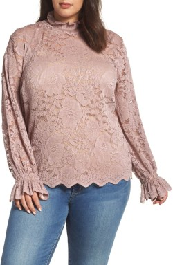 Plus Size Pink Lace Top - Plus Size Winter and Fall Outfit Ideas - Plus Size Fashion for Women - alexawebb.com #plussize #alexawebb