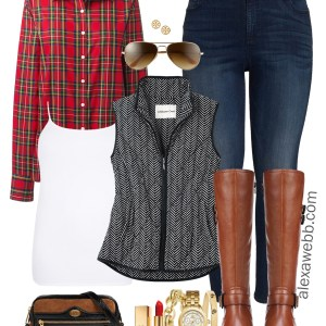 Plus Size Herringbone Vest Outfits - Plus Size Plaid Shirt Outfit Ideas - Plus Size Fashion for Women - alexawebb.com #plussize #alexawebb