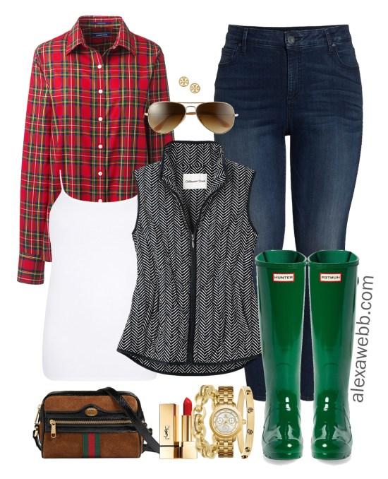 Plus Size Herringbone Vest Outfits - Plus Size Plaid Shirt Outfit Ideas - Wide Calf Hunter Boots - Plus Size Fashion for Women - alexawebb.com #plussize #alexawebb