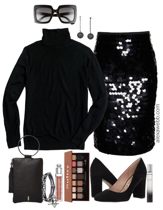 Plus Size Black Sequin Skirt Outfit - Turtleneck & Pumps - Plus Size Holiday Christmas Party Outfits - Plus Size Fashion for Women - alexawebb.com #plussize #alexawebb