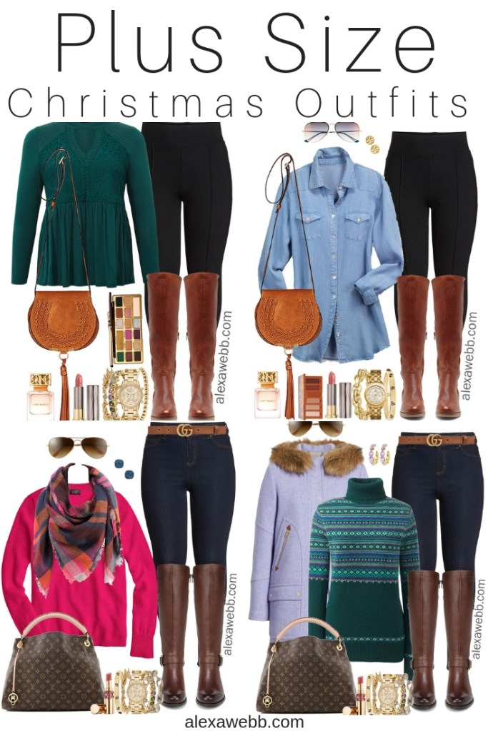 Plus Size Casual Christmas Day Outfit Ideas - Plus Size Jeggings and Boots - Plus Size Fashion for Women - alexawebb.com #plussize #alexawebb