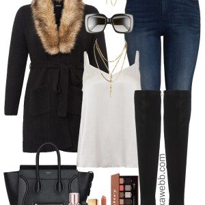 Plus Size Fur Cardigan Outfits - Plus Size Holiday Outfit Ideas - Plus Size Fashion for Women - alexawebbl.com #plussize #alexawebb