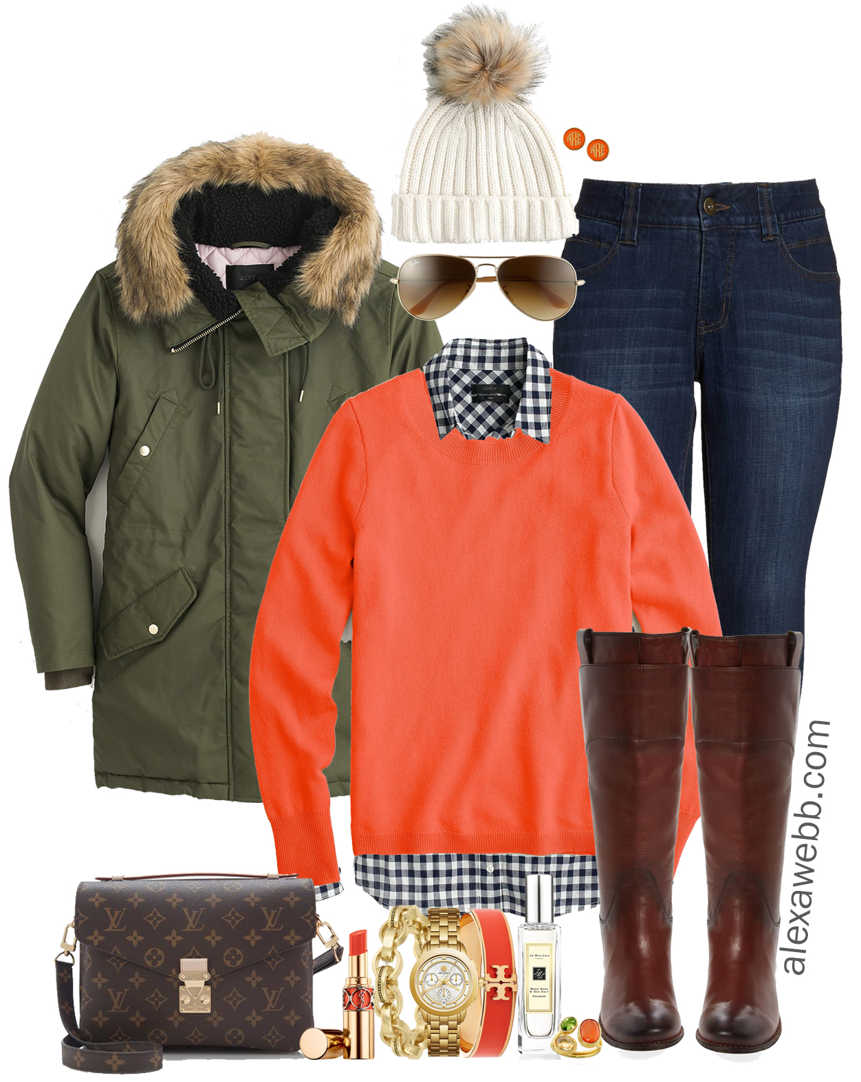 82c661bdd78ac Plus Size Orange Sweater Outfit - Alexa Webb