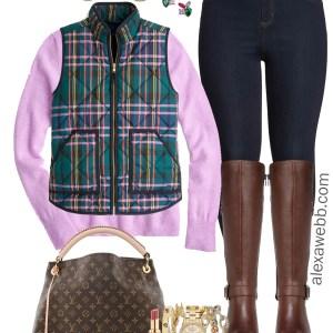 Plus Size Plaid Vest Outfit - Plus Size Lavender Cashmere Sweater, Jeggings, Wide Calf Riding Boots - Plus Size Fashion for Women - alexawebb.com #plussize #alexawebb