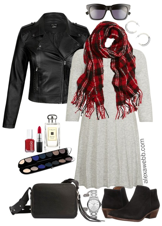 79b1d75ef6f18 Plus Size Sweater Dress Outfits - Plus Size Biker Jacket and Booties - Plus  Size Fashion