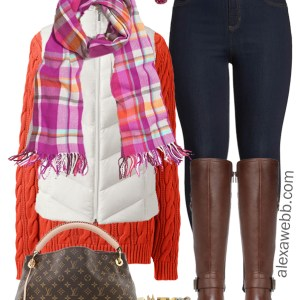 Plus Size White Vest Outfit - Plus Size Orange Sweater, Jegging, Wide Calf Riding Boots - alexawebb.com #plussize #alexawebb