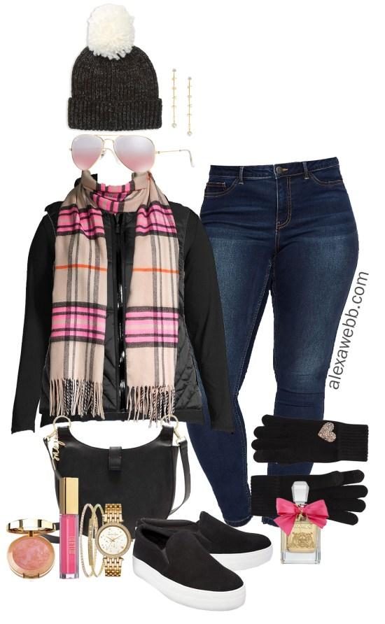 Plus Size Black Vest Outfit Ideas - Plaid Scarf, Jeans, Plus Size Casual Winter Outfits - Plus Size Fashion for Women - alexawebb.com #plussize #alexawebb