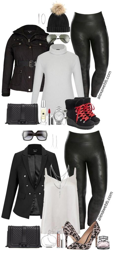 64ea29c4756de Plus Size Faux Leather Leggings Outfit - Plus Size Winter Outfit Ideas - Plus  Size Fashion