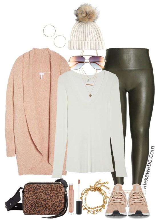 Plus Size Olive Faux Leather Leggings - Plus Size Winter Outfit Ideas - Plus Size Fashion for Women - alexawebb.com - Alexa Webb - #plussize #alexawebb