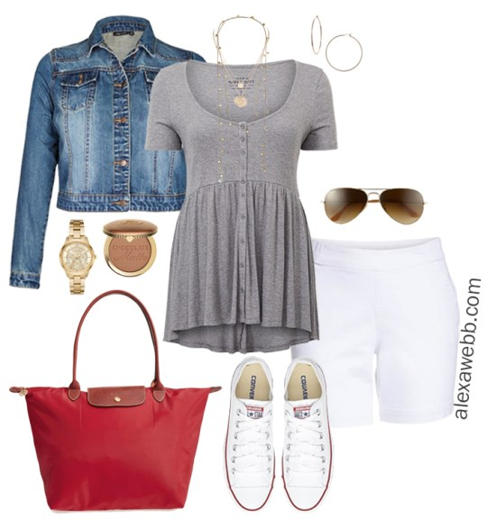 Plus Size Cruise Outfits- Casual Vacation Wear Babydoll Top, Sneakers, Jean Jacket - Plus Size Fashion - Alexa Webb - alexawebb.com #plussize #alexawebb