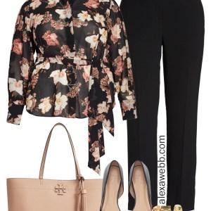 Plus Size Floral Top Work Outfit - Plus Size Workwear - alexawebb.com #plussize #alexawebb