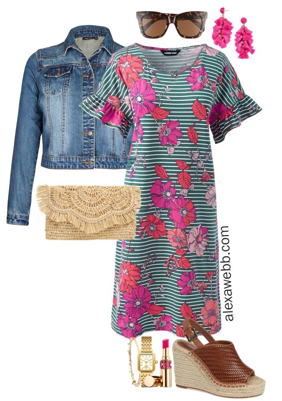 Plus Size Spring Floral Dress Outfit - Plus Size Fashion for Women - alexawebb.com #plussize #alexawebb