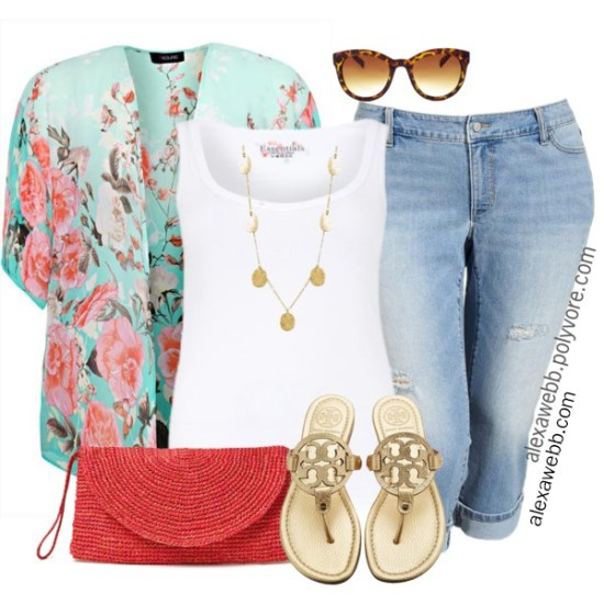 From Alexa Webb's Polyvore Archives - Plus Size Coral and Aqua Outfit Ideas - alexawebb.com #plussize #alexawebb
