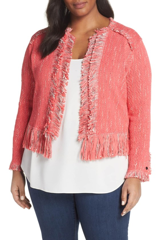 Plus Size Coral Tweed Jacket - Plus Size Casual Outfit with Boyfriend Jeans, Flats, and Blazer - Plus Size Fashion for Women - alexawebb.com #plussize #alexawebb