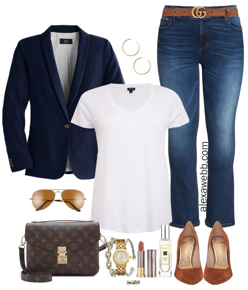 Plus Size Navy Blazer Outfit - Plus Size Casual Outfit with Bootcut Jeans - Plus Size Fashion for Women - alexawebb.com #plussize #alexawebb
