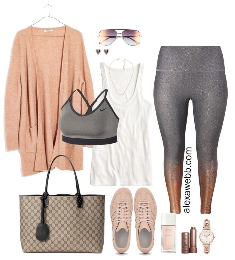 Plus Size Athleisure Errands Outfit - Plus Size Glitter Leggings, Sneakers - Plus Size Fashion for Women - alexawebb.com #plussize #alexawebb