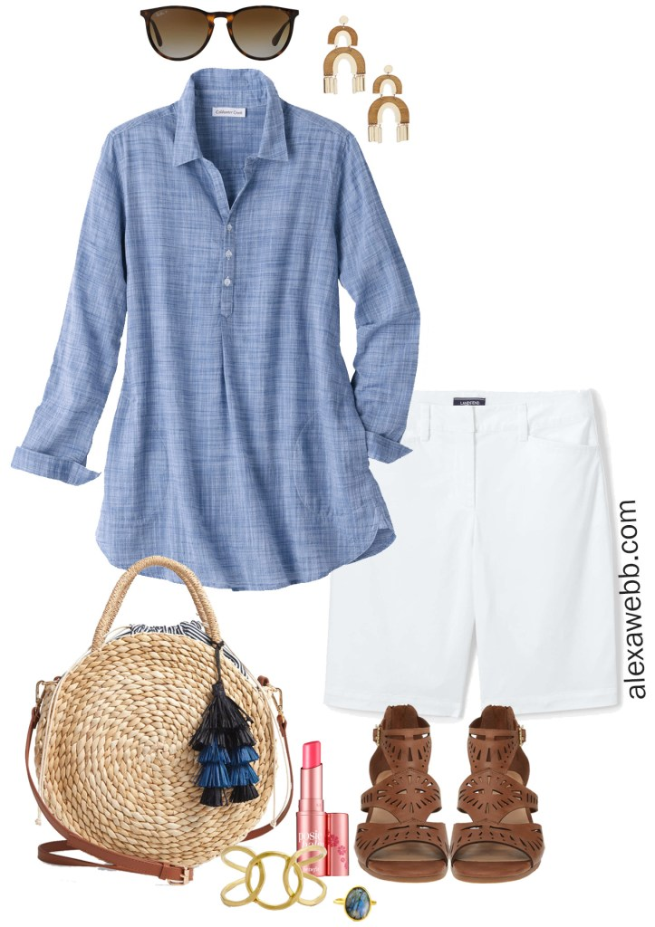 Plus Size Chambray Tunic Outfit, White Shorts, Sandals, Statement Earrings - alexawebb.com #plussize #alexawebb