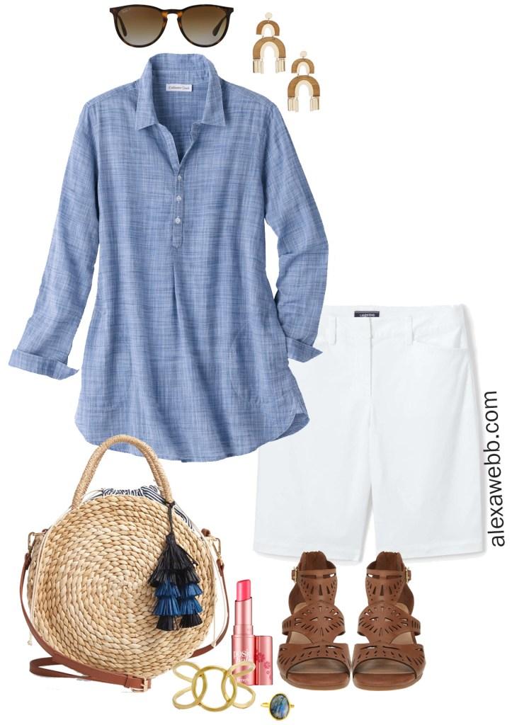 Plus Size Chambray Tunic Outfit, White Shorts, Sandals, Statement Earrings - alexawebb.com #plussize #alexawebb